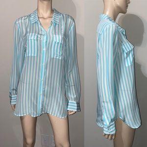 Victoria's Secret Stripe Silk Blouse L